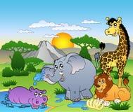 Paesaggio africano con quattro animali Immagine Stock