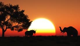 paesaggio africano 3D Immagini Stock Libere da Diritti