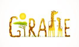 Paesaggio africano dell'iscrizione di divertimento degli animali della giraffa Immagini Stock