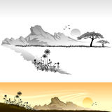 Paesaggio africano della savanna Immagine Stock Libera da Diritti