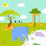 Paesaggio africano ed animali Fotografia Stock Libera da Diritti