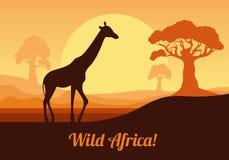 Paesaggio africano nei toni arancio Giraffa sui precedenti del sole Illustrazione di vettore nello stile piano Fotografia Stock Libera da Diritti