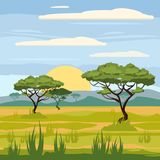 Paesaggio africano, savana, natura, alberi, regione selvaggia, stile del fumetto, illustrazione di vettore royalty illustrazione gratis