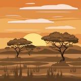 Paesaggio africano, tramonto, savana, natura, alberi, regione selvaggia, stile del fumetto, illustrazione di vettore royalty illustrazione gratis