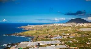 Paesaggio agricolo della linea costiera nordica di Tenerife Fotografia Stock
