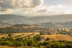 Paesaggio agricolo irrigato sul Cipro fotografia stock