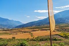 Paesaggio agricolo pittoresco nel Bhutan rurale Immagine Stock
