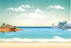 Paesaggio-alba sopra la costa araba dell'oceano Fotografie Stock Libere da Diritti