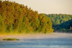 Paesaggio all'alba, nebbia del fiume Fotografia Stock