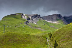 Paesaggio alpino con funicolare Immagini Stock Libere da Diritti
