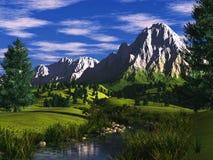 Paesaggio alpino con il fiume Immagine Stock Libera da Diritti