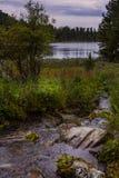 Paesaggio alpino con il lago ed il fiume Karakol in Altai Fotografia Stock