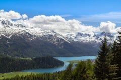 Paesaggio alpino con il lago st Moritz, Svizzera Immagine Stock Libera da Diritti