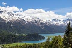 Paesaggio alpino con il lago st Moritz, Svizzera Fotografia Stock Libera da Diritti