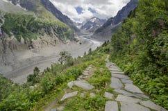 Paesaggio alpino con il percorso, le montagne ed il ghiacciaio Fotografia Stock Libera da Diritti