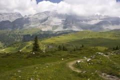 Paesaggio alpino con la capanna Fotografia Stock