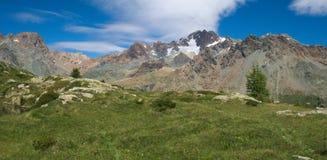 Paesaggio alpino con le montagne alte e pascolo di estate in Valmalenco Fotografia Stock