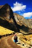 Paesaggio alpino in Cordiliera Huayhuash immagine stock