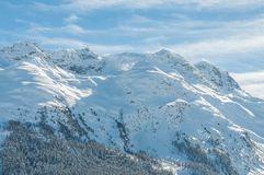 Paesaggio alpino della montagna delle alpi a St Moritz Immagine Stock Libera da Diritti