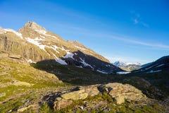 Paesaggio alpino di elevata altitudine al tramonto Fotografie Stock Libere da Diritti
