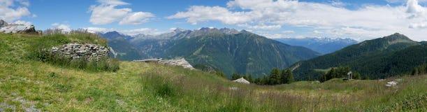 Paesaggio alpino di estate in Valtellina Immagine Stock