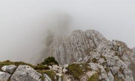 Paesaggio alpino drammatico di estate, nelle alpi di Transylvanian, con le nuvole e la foschia Fotografia Stock