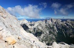 Paesaggio alpino nel parco nazionale di Triglav Julian Alps visto dal picco di Triglav Fotografie Stock