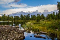 Paesaggio alpino silenzioso con il lago e la foresta Karakol in Altai Fotografia Stock Libera da Diritti