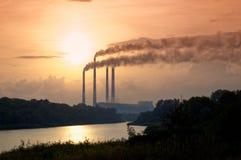 Paesaggio antropogenico - centrale elettrica del distretto dello stato Regione di Rostov, Novocerkassk, Russia Fotografia Stock Libera da Diritti