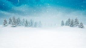 Paesaggio aperto innevato di inverno alle precipitazioni nevose illustrazione vettoriale
