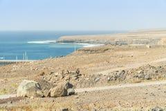 Paesaggio arido nel sud di Fuerteventura, Spagna fotografia stock