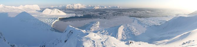Paesaggio artico di inverno, panorama Fotografia Stock