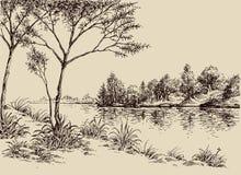 Paesaggio artistico disegnato a mano illustrazione di stock
