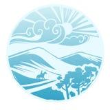 Paesaggio asiatico della steppa Illustrazione stilizzata di vettore Fotografie Stock Libere da Diritti