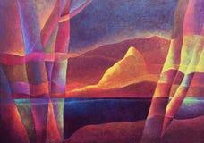 Paesaggio astratto 67, arte digitale da Afonso Farias & Denilson Bedin illustrazione vettoriale