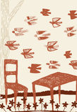 Paesaggio astratto con bordi delle sedie e della tavola dagli uccelli Fotografia Stock
