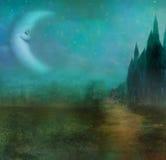 Paesaggio astratto con il vecchio castello e la luna sorridente Fotografia Stock