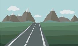 Paesaggio astratto con la strada della strada principale Illustrazione di vettore Immagini Stock
