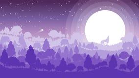 Paesaggio astratto del paesaggio della foresta con il lupo sulla luce della luna sulla luna piena che esamina il cielo Immagine Stock