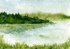Paesaggio astratto dell'acquerello Fotografia Stock
