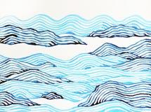 Paesaggio astratto della pittura dell'acquerello della montagna disegnato a mano Fotografie Stock