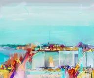 Paesaggio astratto della pittura a olio Pittura a olio all'aperto su tela Albero astratto dei semi, campo, prato illustrazione di stock