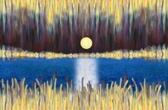 Paesaggio astratto fantastico con un lago e una luna piena in aumento illustrazione di stock