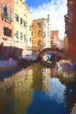 Paesaggio astratto a Venezia Rotazione rosso-cupo di Digitahi art immagine stock