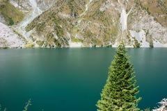 Paesaggio bello con il lago, la foresta e le montagne del turchese immagini stock
