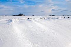 Paesaggio bianco di inverno del campo con l'azienda agricola Immagini Stock Libere da Diritti