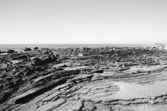 Paesaggio in bianco e nero della spiaggia fotografia stock libera da diritti
