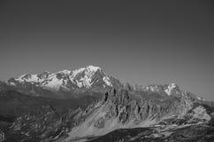 Paesaggio in bianco e nero di Mont Blanc France Immagini Stock