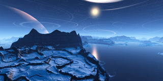 Paesaggio blu Fotografie Stock Libere da Diritti