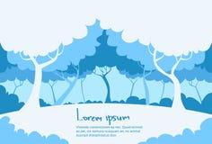 Paesaggio blu bianco Forest Tree di inverno Fotografie Stock